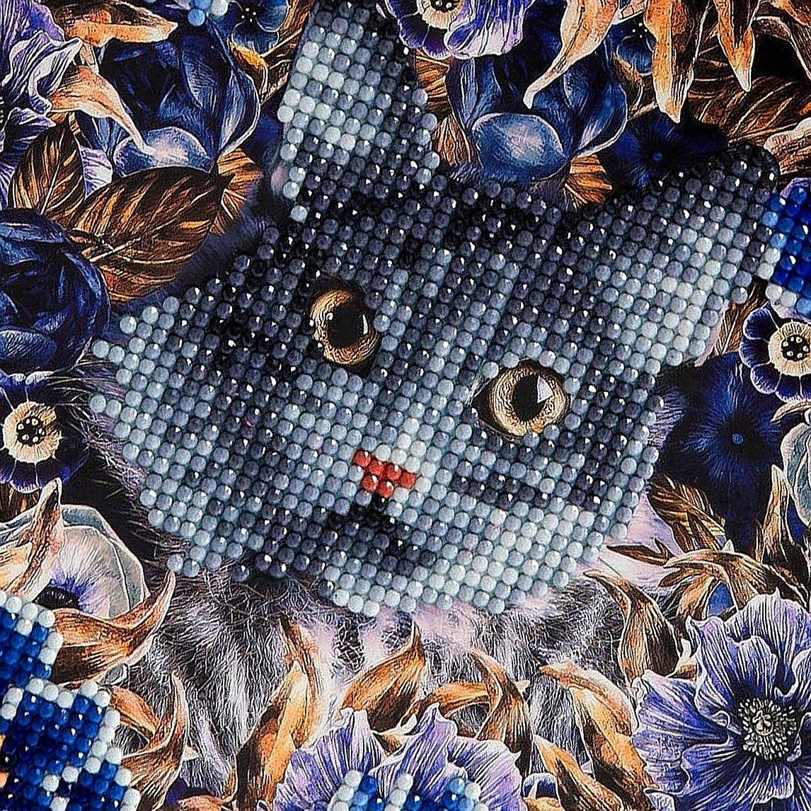 CCK-A4 Cats & Flowers Crystal Art Card Kit