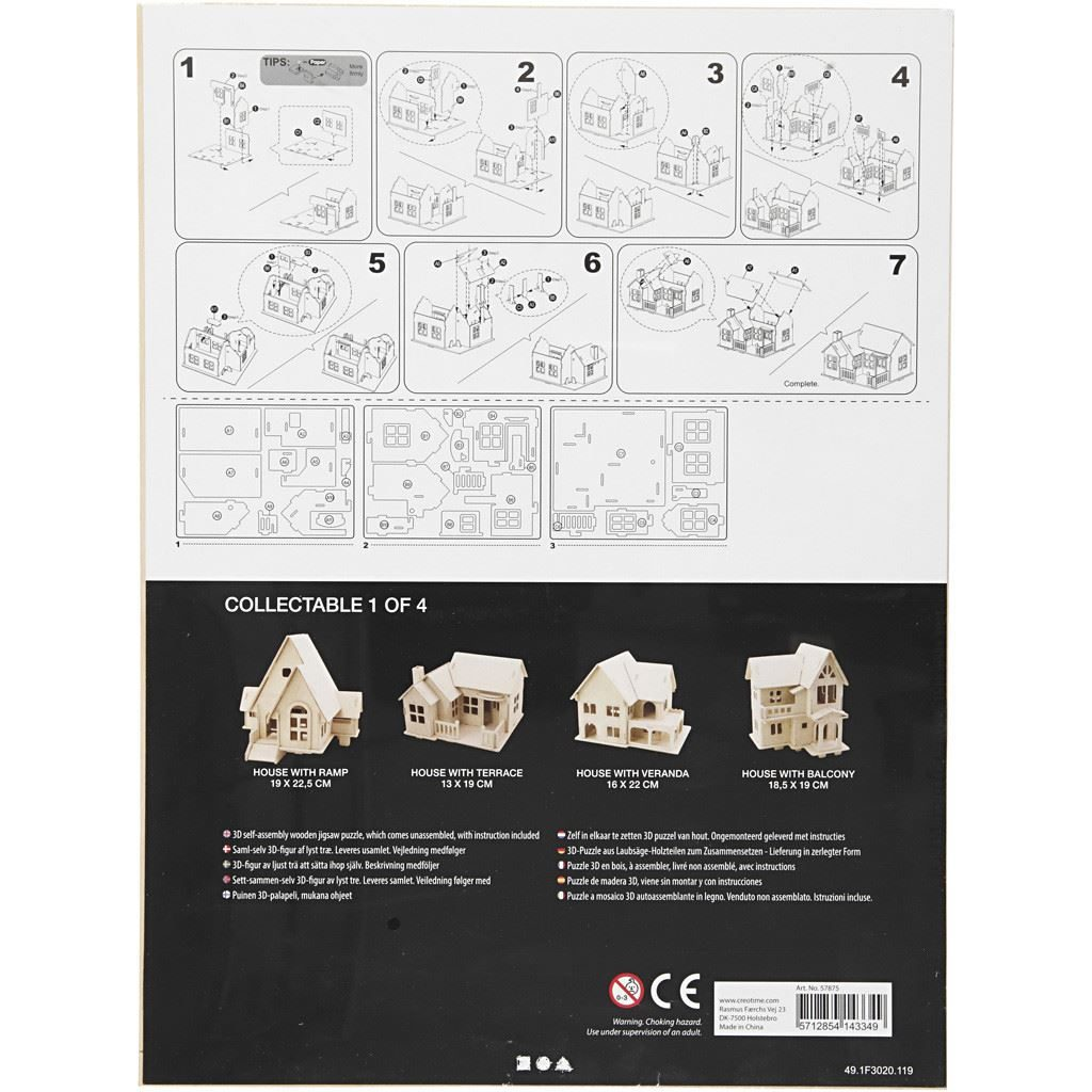 CH57875 Wooden Construction Kit- House with Terrace instructions