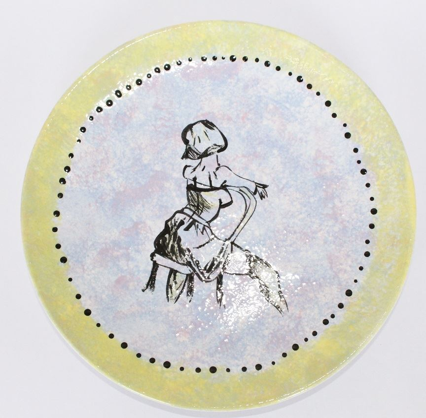 1031 Coupe Dessert Plate painted