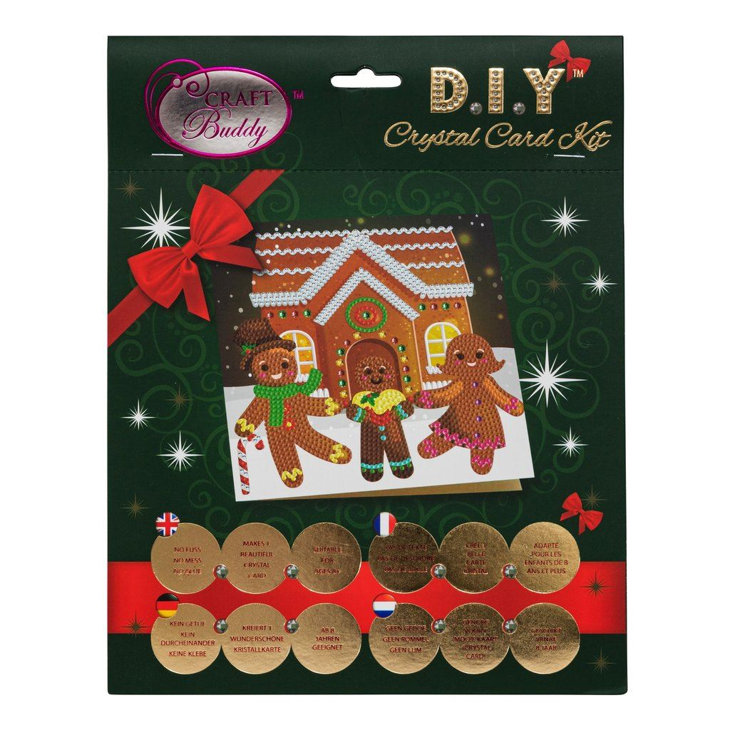 Gingerbread Family - Crystal Art Card 18 x 18cm pack