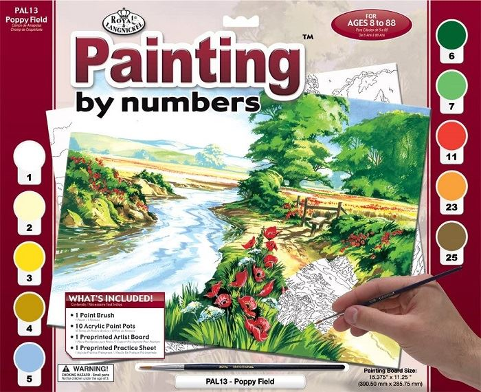 PAL13 Poppy Field Painting by Numbers Kit