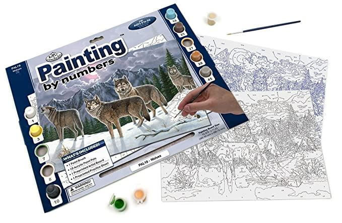 PAL19 Painting by Numbers Kit Wolves contents