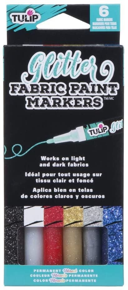38471 Glitter Fabric Markers by Tulip