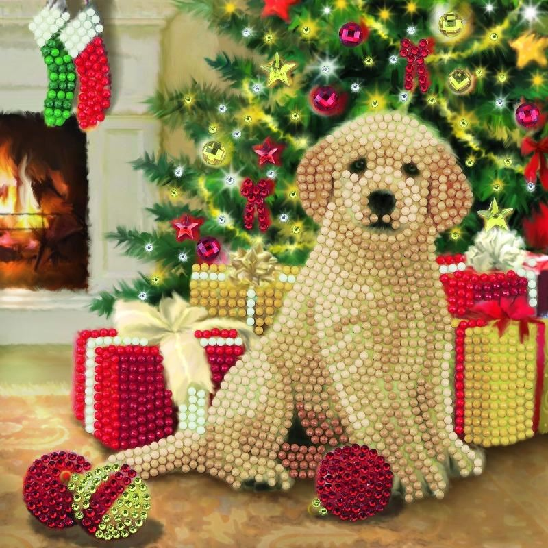 Puppy's First Christmas 18 x 18cm Crystal Art Card Kit