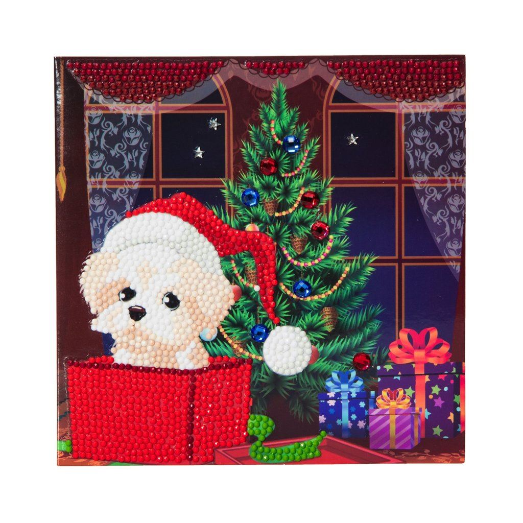 Puppy for Christmas - Crystal Art Card 18 x 18cm