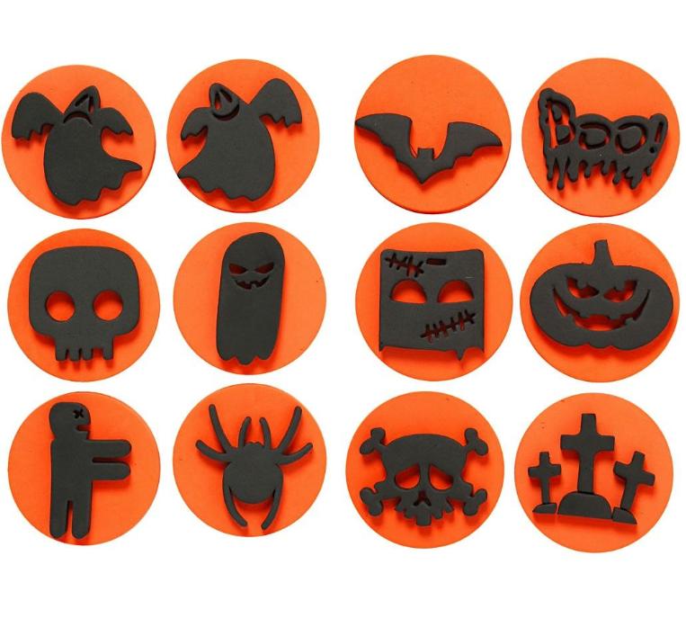 Foam Stamps Halloween 7.5cm (12 Assorted)