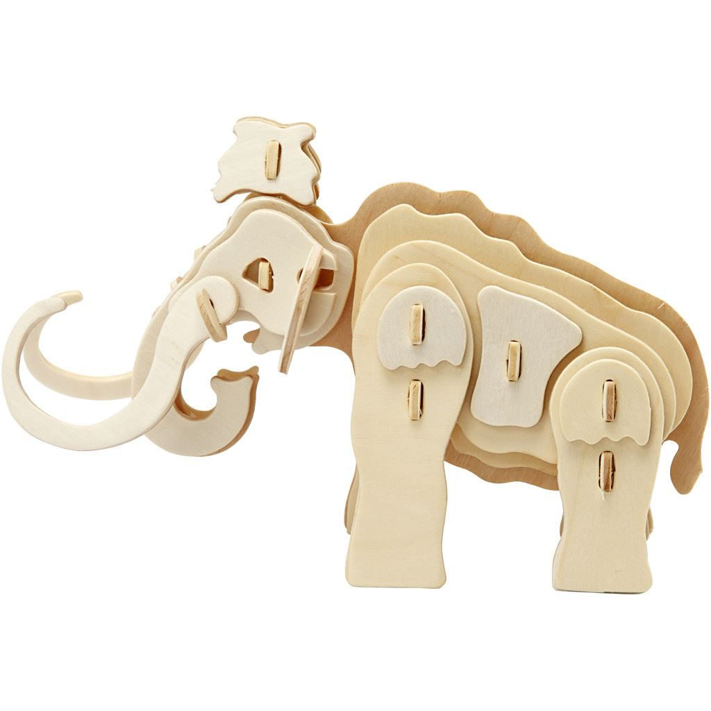 580503 3D Mammoth Wood Construction Craft Kit side