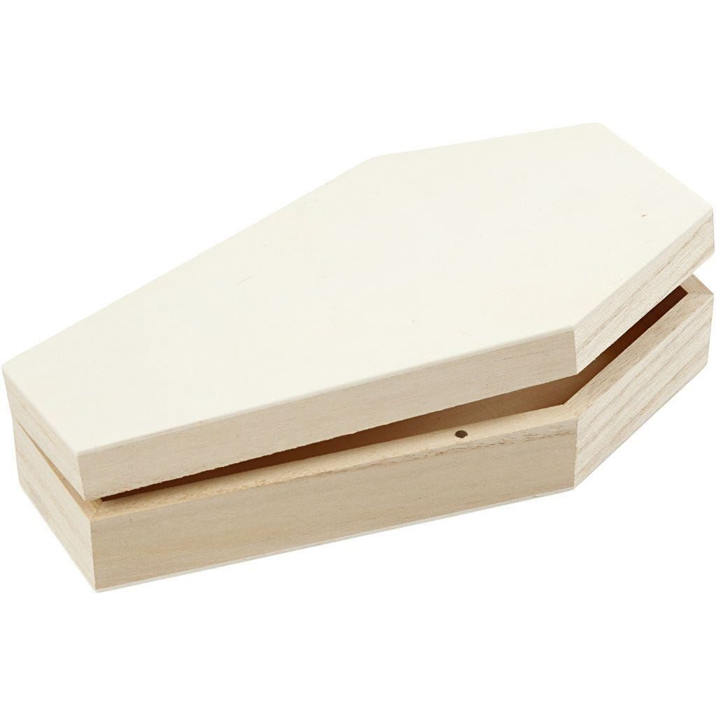Wooden Coffin with magnetic lock 18cm W