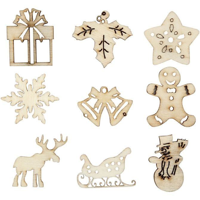 Wooden Small Xmas Decorations - 45pc 28mm