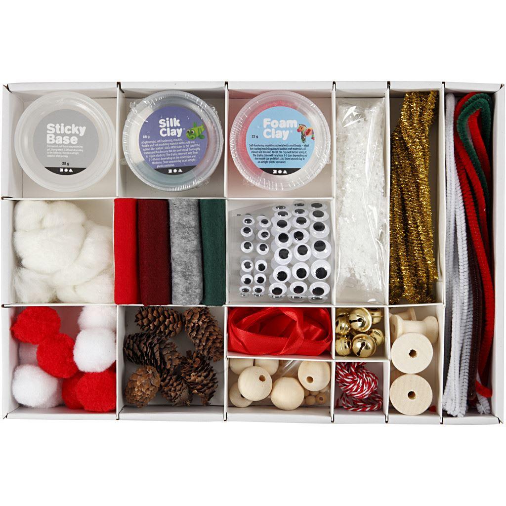 Traditional Christmas Creative Box Set Foam & Silk Clay box content