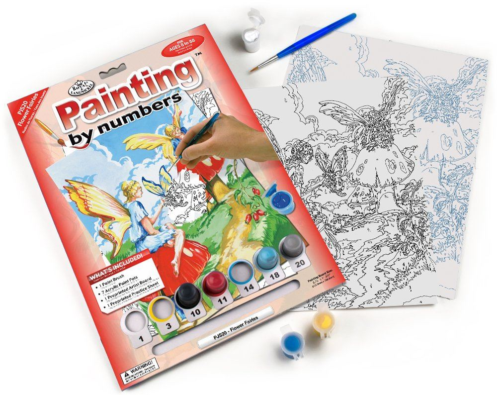 PJS20 Flower Fairies Painting by Numbers Kit contents