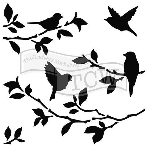 TCW713 Acrylic Stencil Birds on Branches