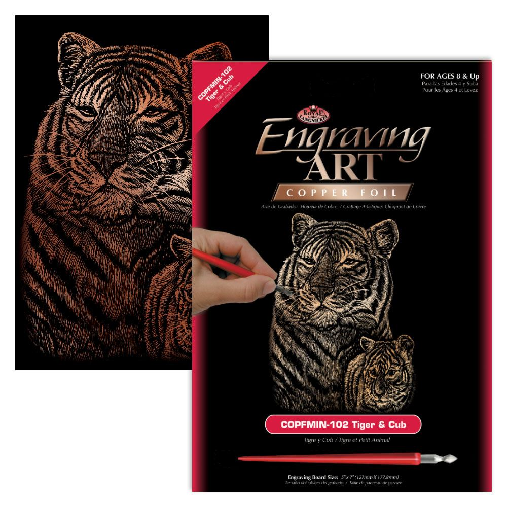 COPMIN-102-Tiger & Cub (Copperfoil Mini Engraving Kit)
