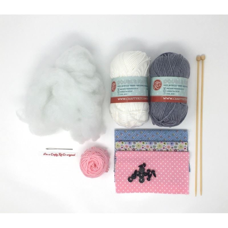 Mary Mouse Knitting Kit contents