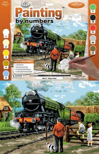 PAL15 Steam Train Painting by Numbers Kit outer inner