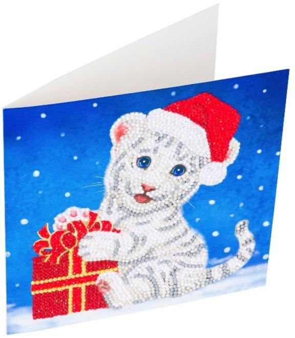 CCK-XM57 Christmas White Tiger - Crystal Art Card complete