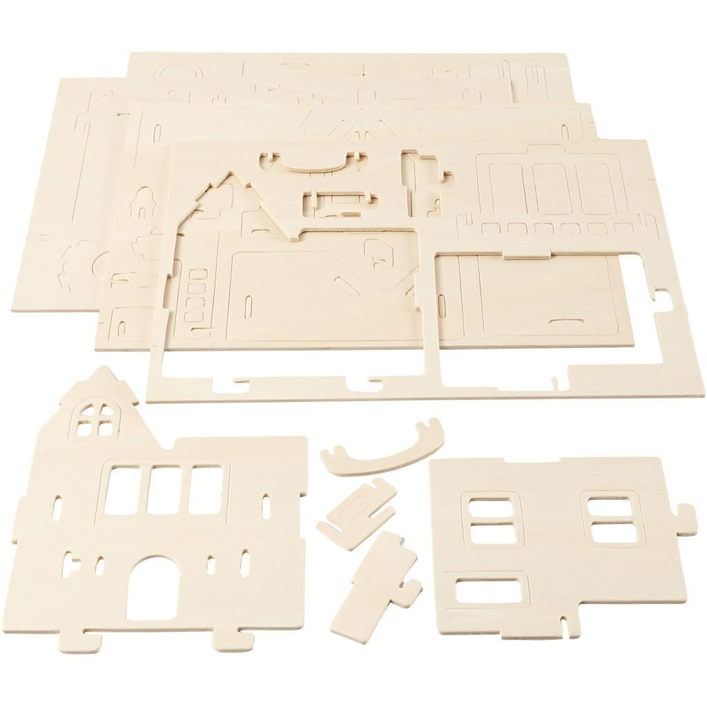 CH57877 3D Wooden Construction Kit - House with Balcony flat packed
