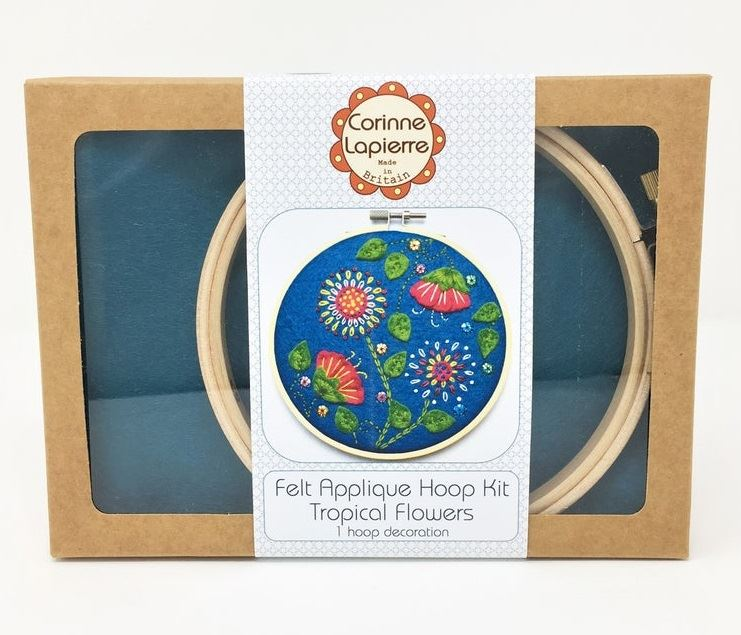 Tropical Flowers Embroidery Applique Hoop Kit