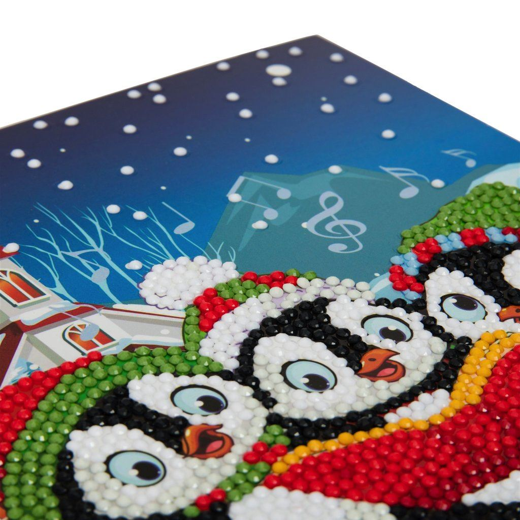 CCK-XM6 Penguin Christmas Carols - Crystal Art Card 18 x 18cm