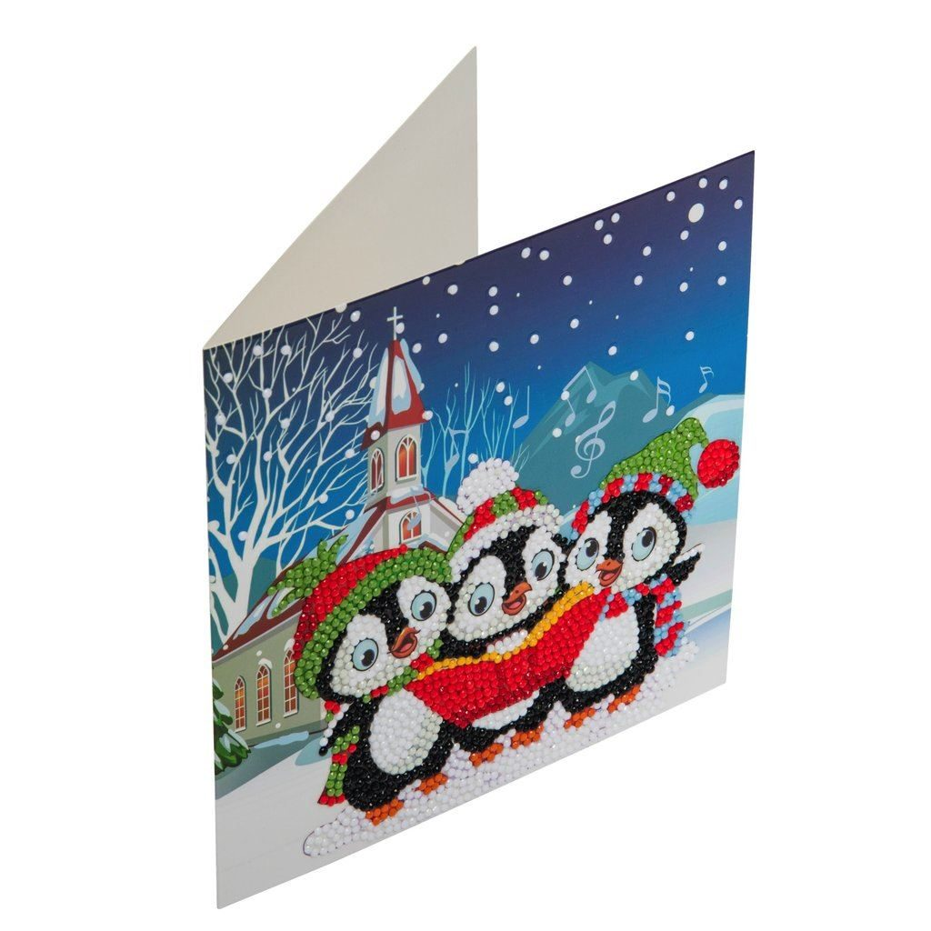 CCK-XM6 Penguin Christmas Carols - Crystal Art Card 18 x 18cm