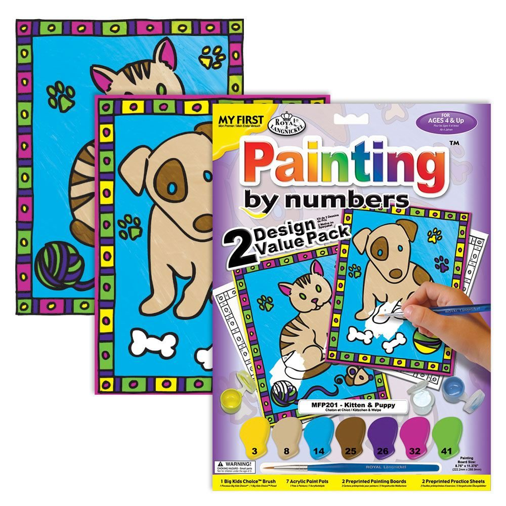 MFP201 My First Painting by Numbers- Kitten and Puppy kit