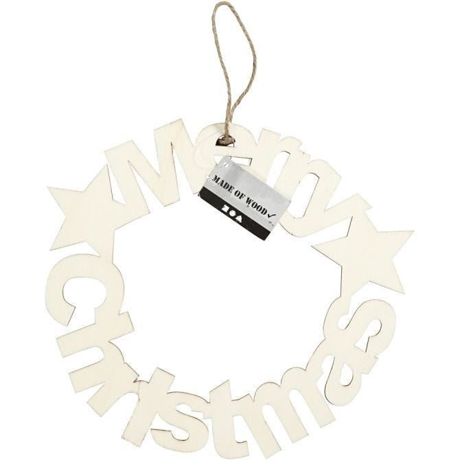 Wooden 'Merry Christmas' Decoration