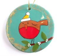 5061 round ornament flat with robin