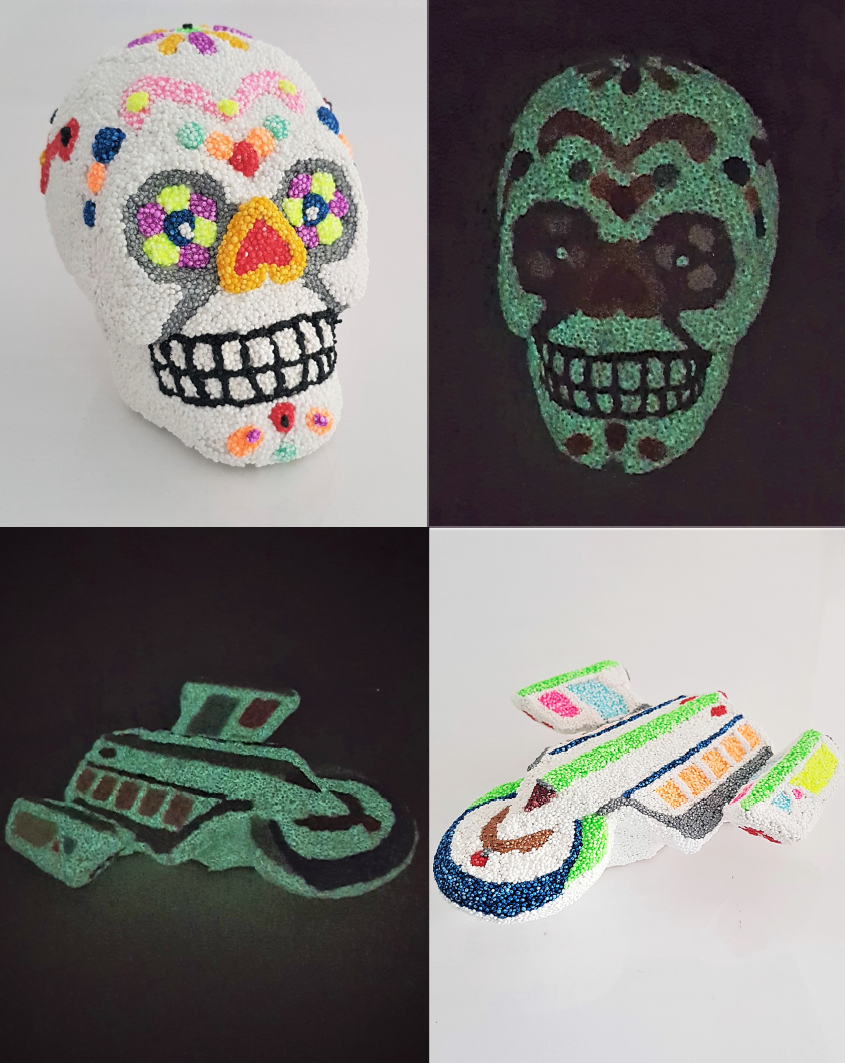 Skull Bank and spaceship with Glow in the Dark foam clay
