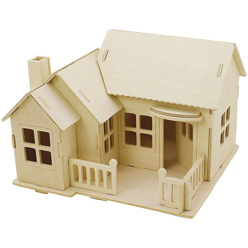 CH57875 Wooden Construction Kit- House with Terrace