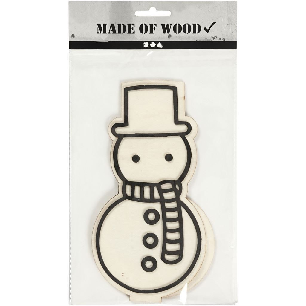 CH791947 Snowman Wooden Figure in pack