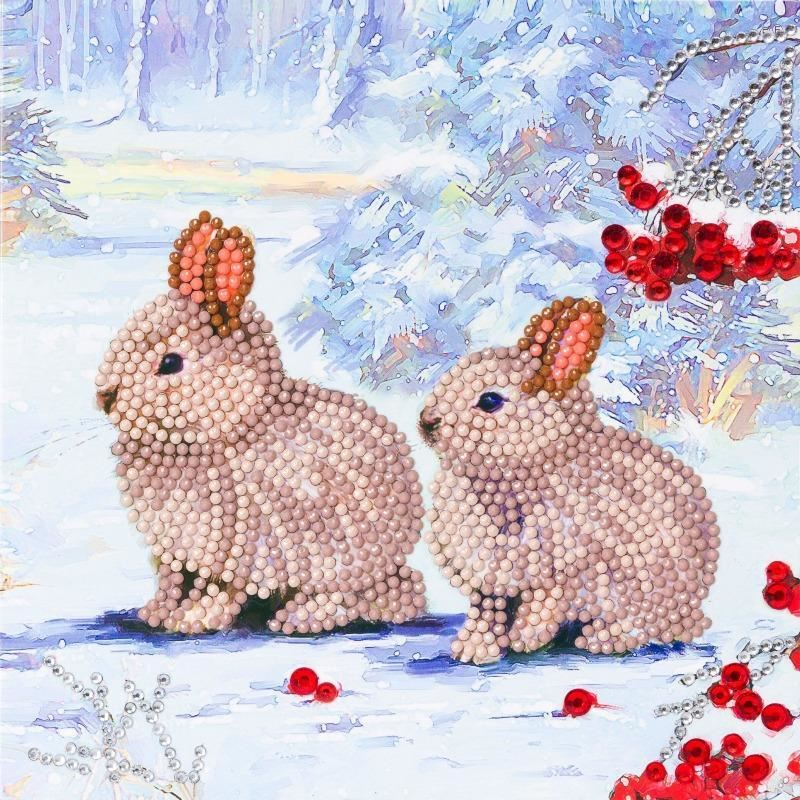 Winter Bunnies - Crystal Art Card 18 x 18cm