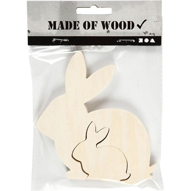 CH57900 Wooden Bunny Figure for decorating, in pack