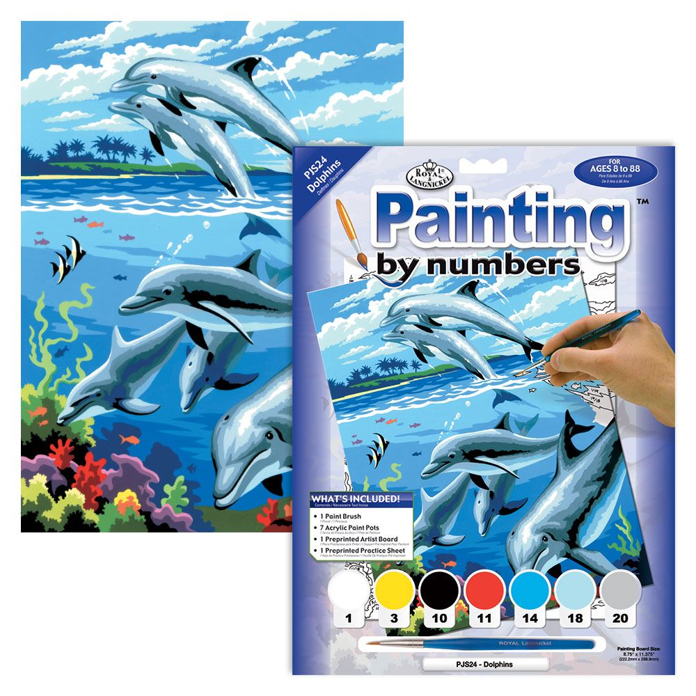 PJS24 Dolphins Painting by Numbers Kit