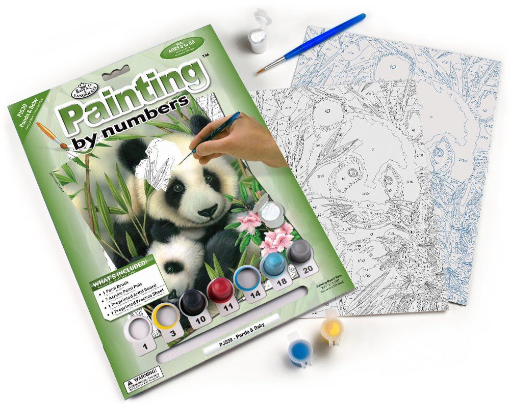 PJS39 Panda and Baby Painting By Numbers Kit contents