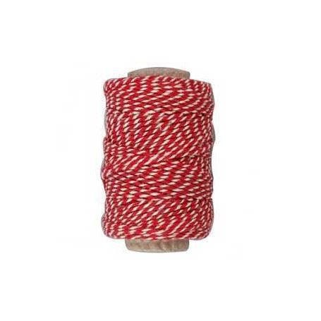 Red and White Cotton Cord  50m Roll CH50332