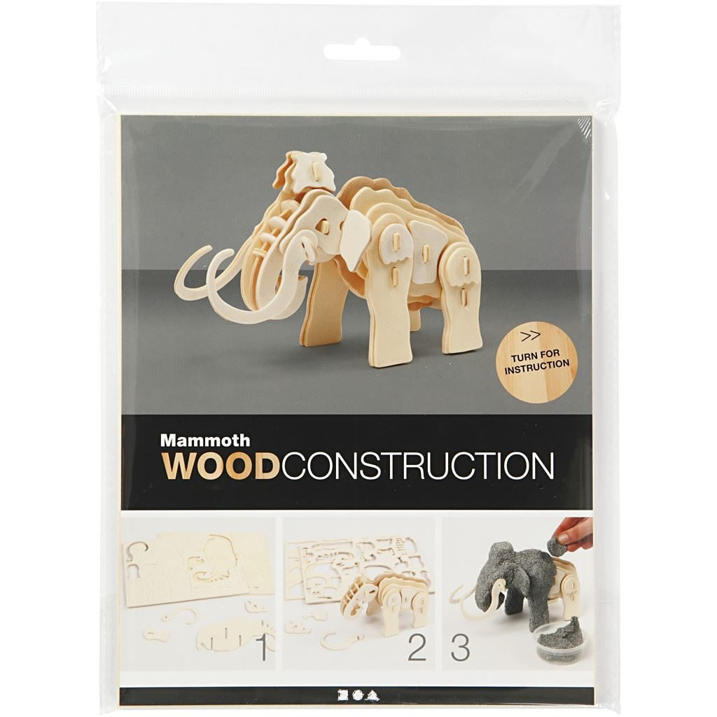 580503 3D Mammoth Wood Construction Craft Kit in pack