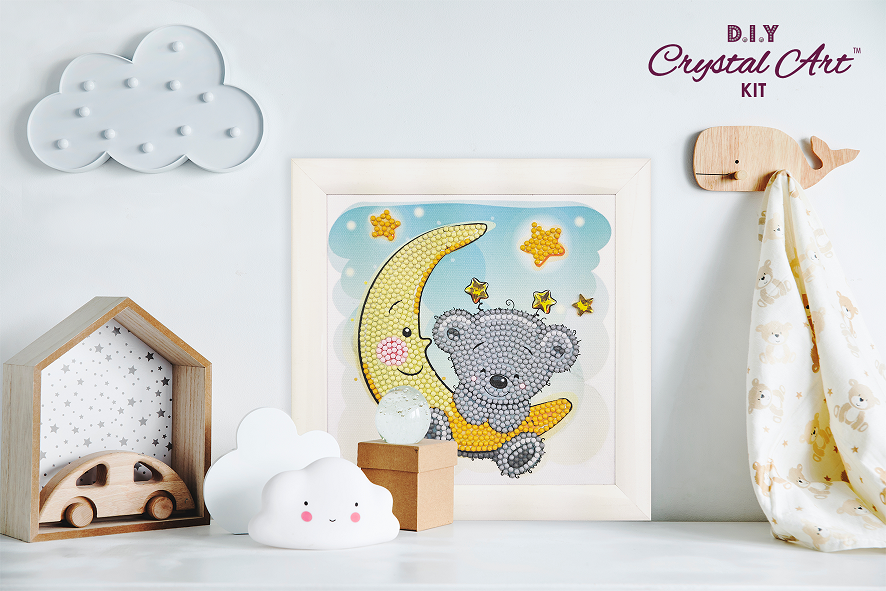 Teddy on The Moon - Frameable Crystal Art Kit 16cm