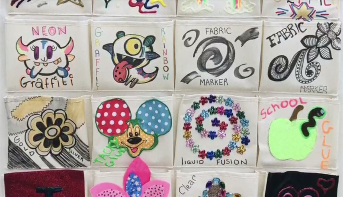 Examples of Designs using Fabric Paint, Markers & Glue