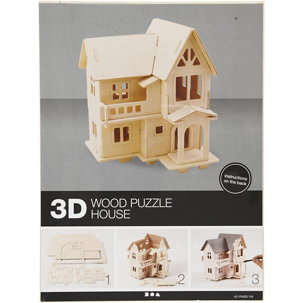CH57877 3D Wooden Construction Kit - House with Balcony completed