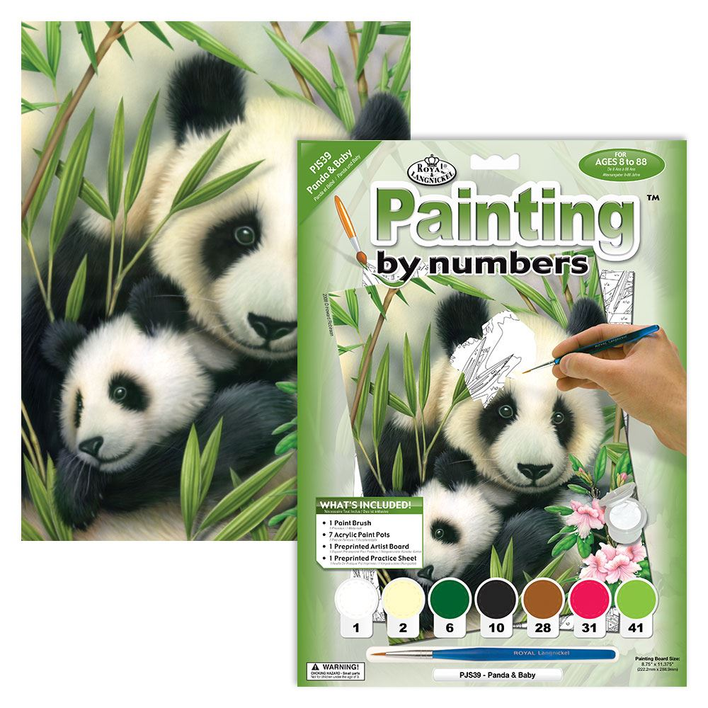 PJS39 Panda and Baby Painting By Numbers Kit