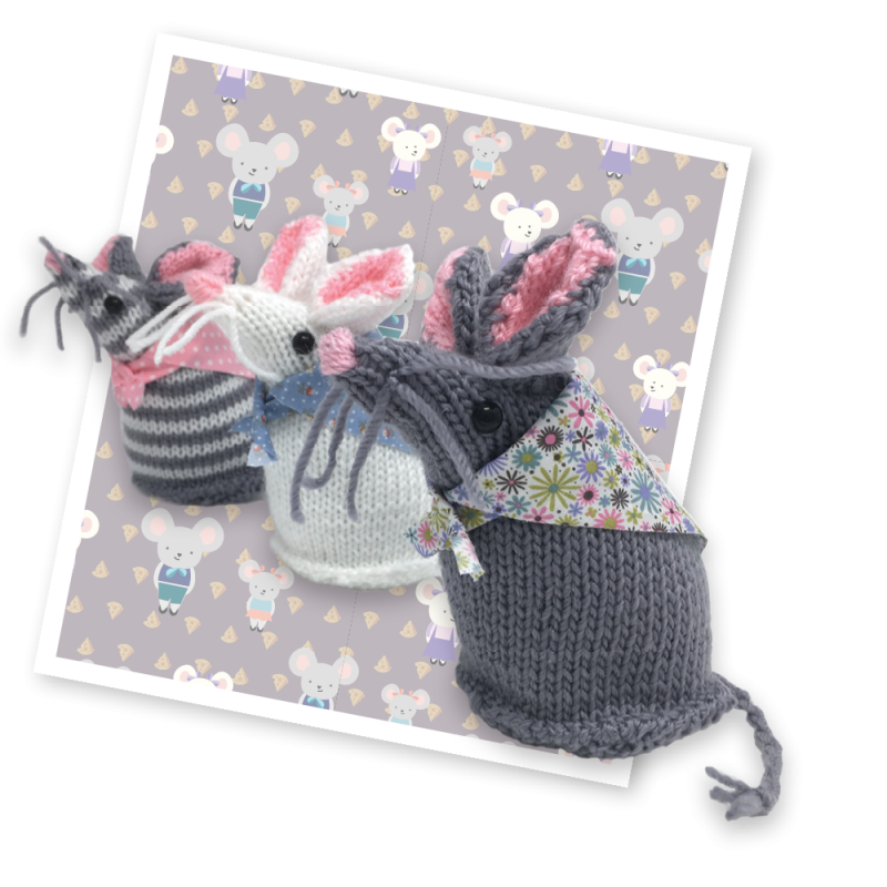 Mary Mouse Knitting Kit mice