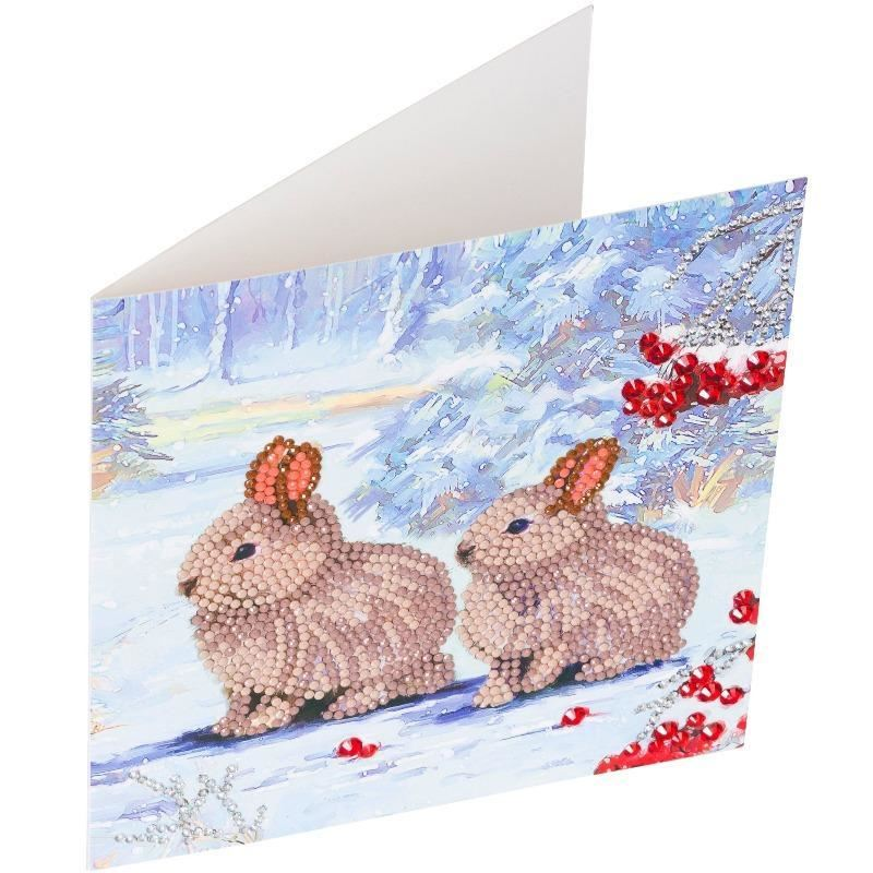 CCK-XM61 Winter Bunnies - Crystal Art Card full card