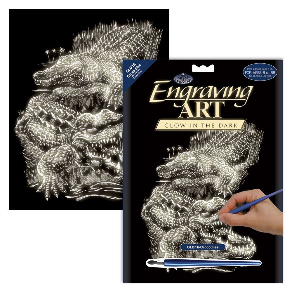 GLO16-Crocodiles Glow in the Dark Engraving Kit