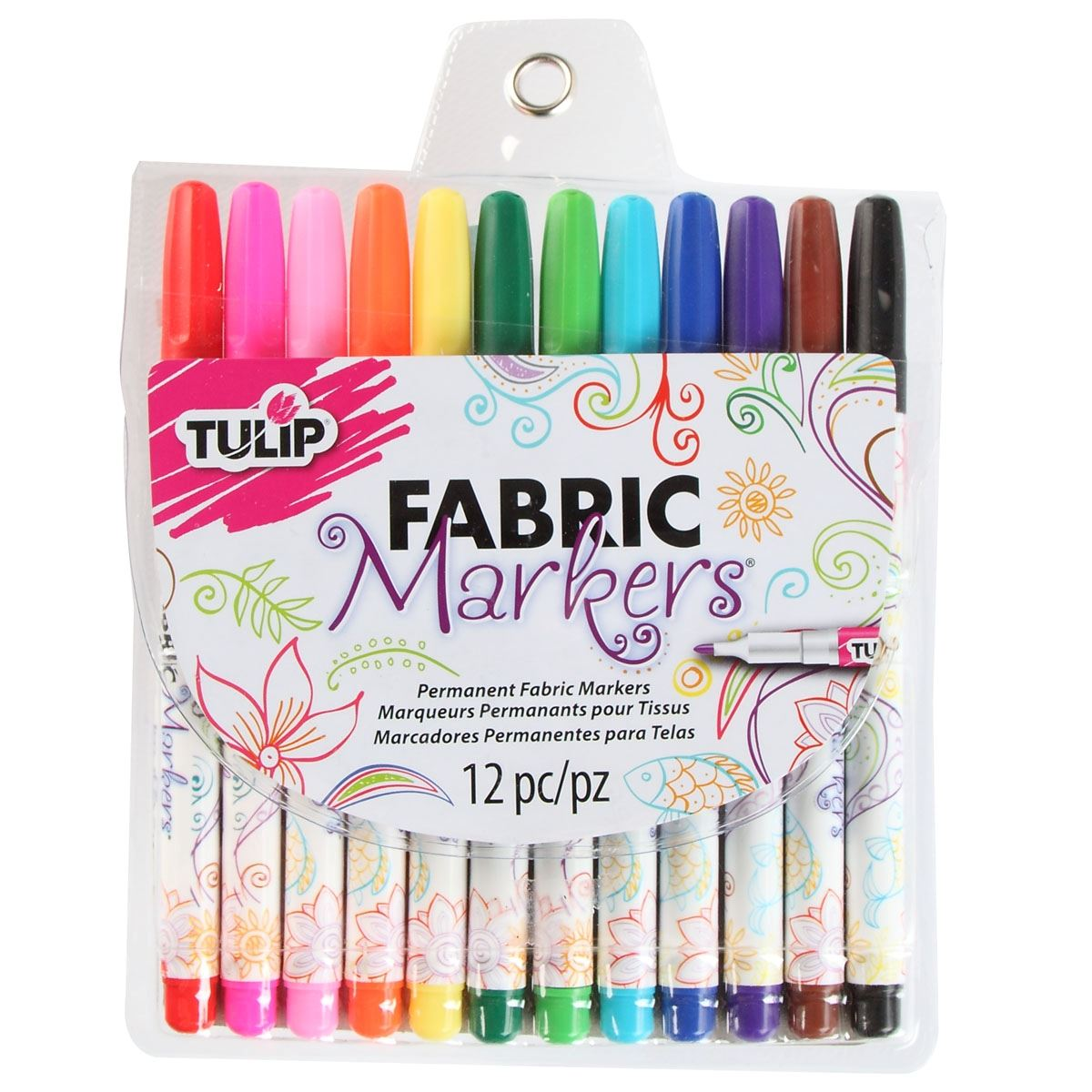 26662 Fine Tip Fabric Markers - Multi (12 pack) by Tulip (pack)