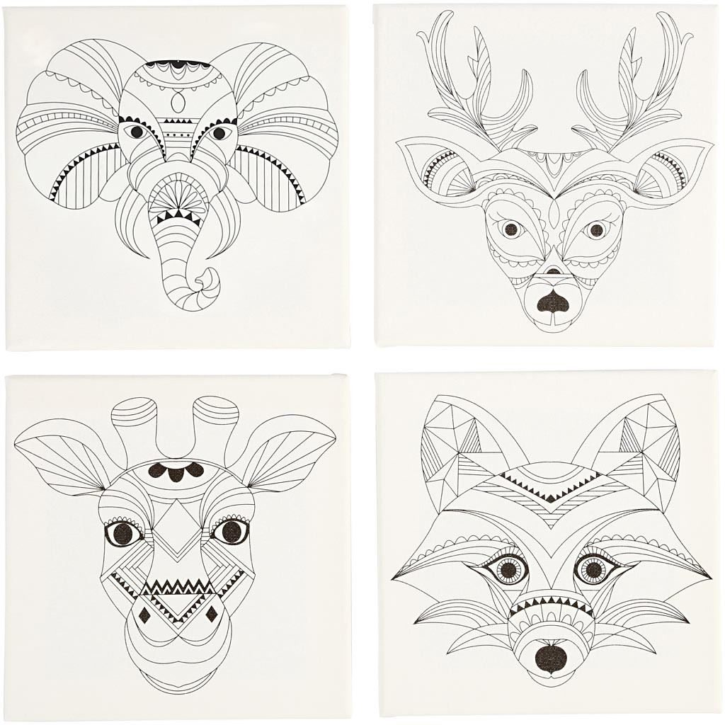 CH22777 Stretched Canvas 4 Pack- Animals Canva