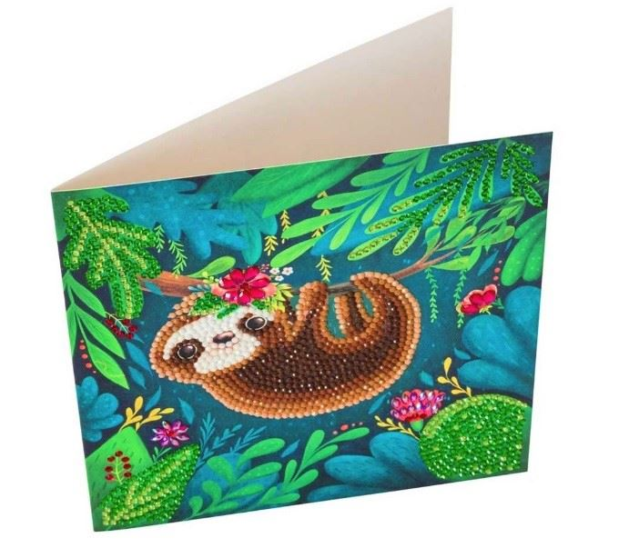 CCK-A54 Sloth Crystal Art Card Kit completed