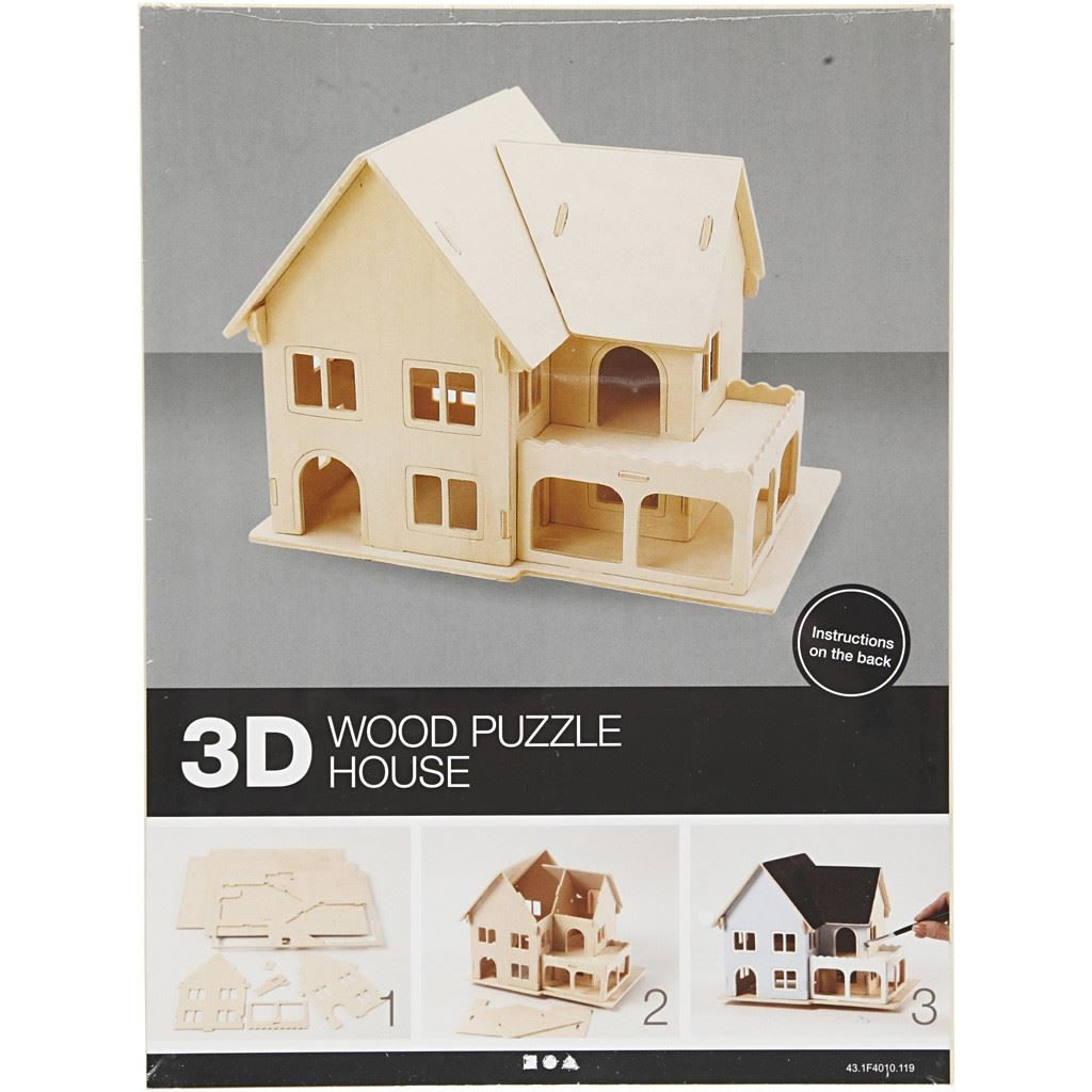 CH57876 3D Wooden Construction Kit - House with Veranda pack