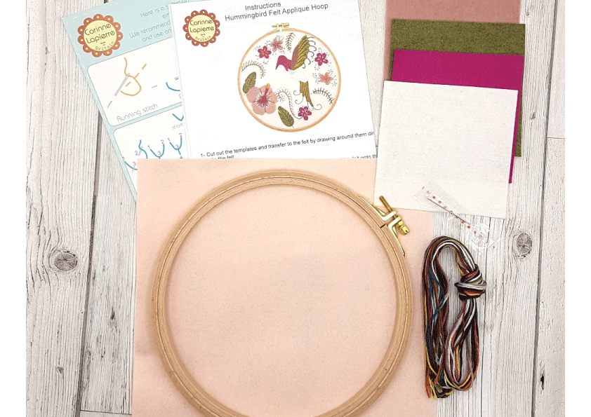 Hummingbird Felt Embroidery Hoop Kit