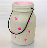 Star Jar Lantern with Pink LED Light