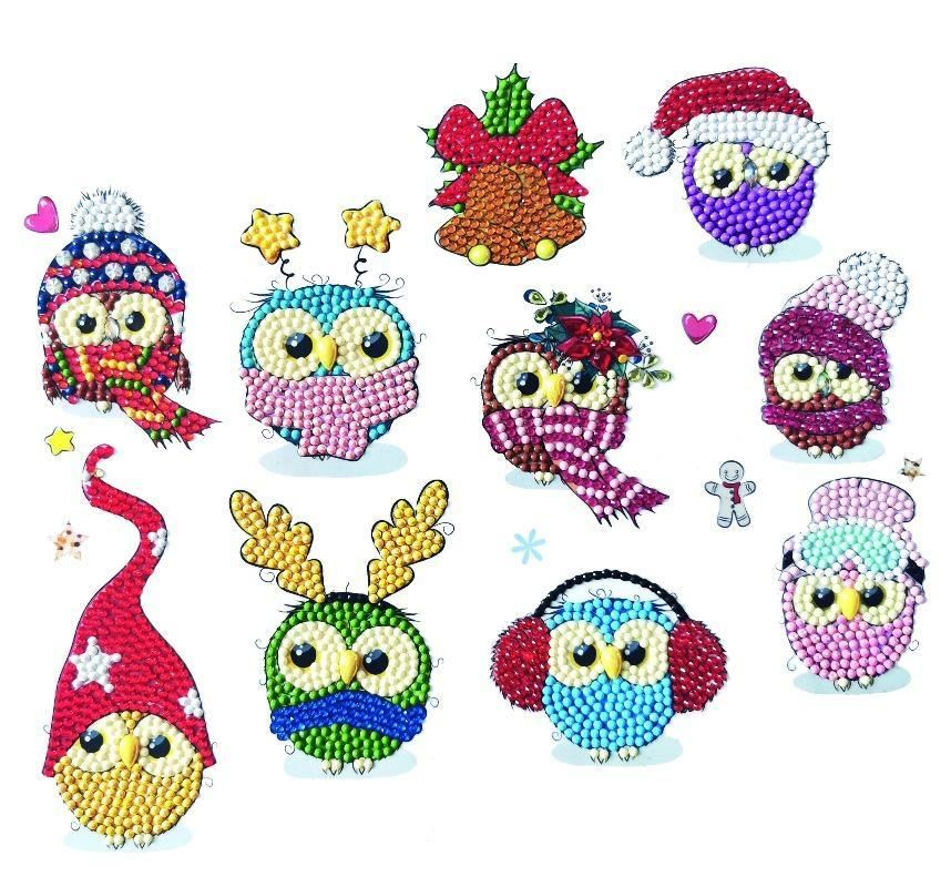 CAMK-2020SET4 Cool Christmas Owls Sticker Set